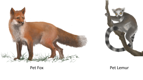 Concept art of 2 of 5 possible pets