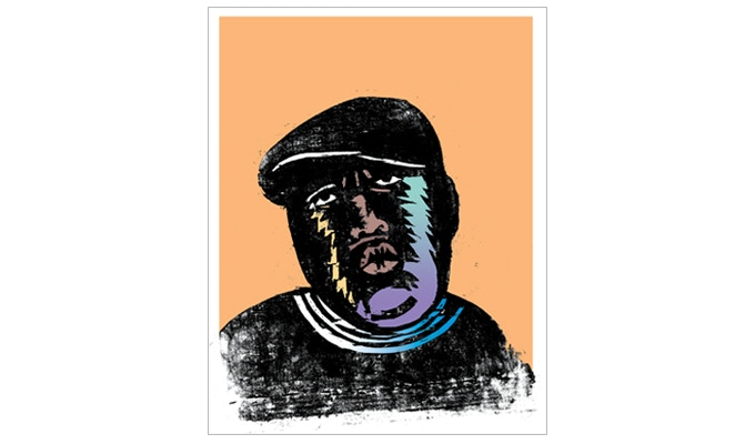"""For $139: """"The Notorious B.I.G.,"""" giclée print, 18 x 24 in., of 2011 woodcut designed for """"The Fader"""" magazine. Plus a copy of """"At War with War."""""""