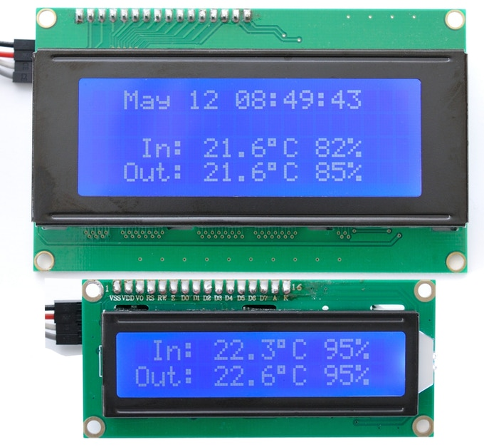 20x4 and 16x2 LCDs showing relative size