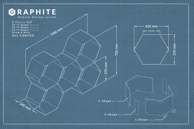 Graphite 5 pcs KIT dimensions