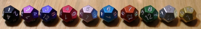 These are standard numbered D12's shown for color options.
