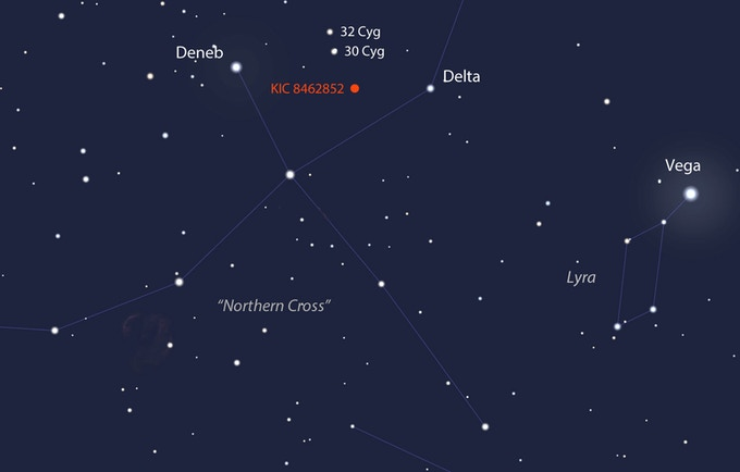 This image shows the position in the sky of KIC 8462852, located in the constellation Cygnus (Northern Cross).  Image credit: Stellaruim.