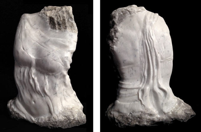 Desire for the Divine - hand carved carrara marble and chinese ink, H 21 x W 18 x D 7.5 inches