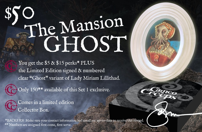 """$50 You get the PDF Digital Print + ALL Social Media Skins + Ebook w/ Forward by G.D. Falksen + Exclusive Kickstarter Signature Series Mini-Print + the Limited Edition """"Mansion Ghost"""" Creep"""