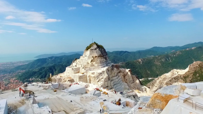 View of the marble quarries of Carrara Italy