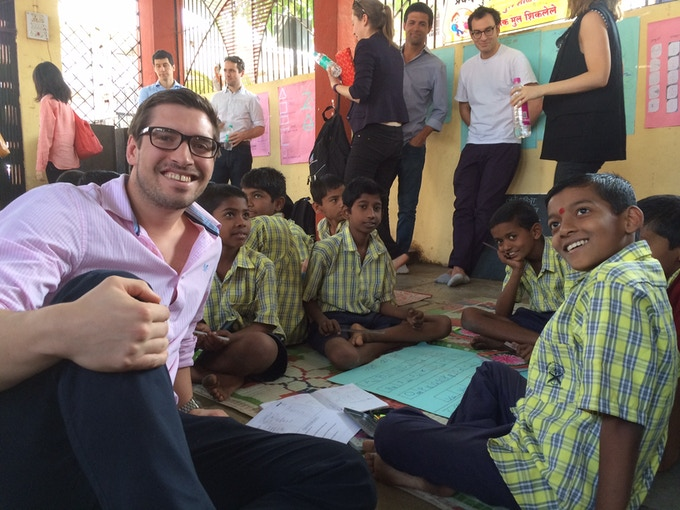 Stefan, our co-founder, enjoying a lesson put on by Pratham in Pune, India