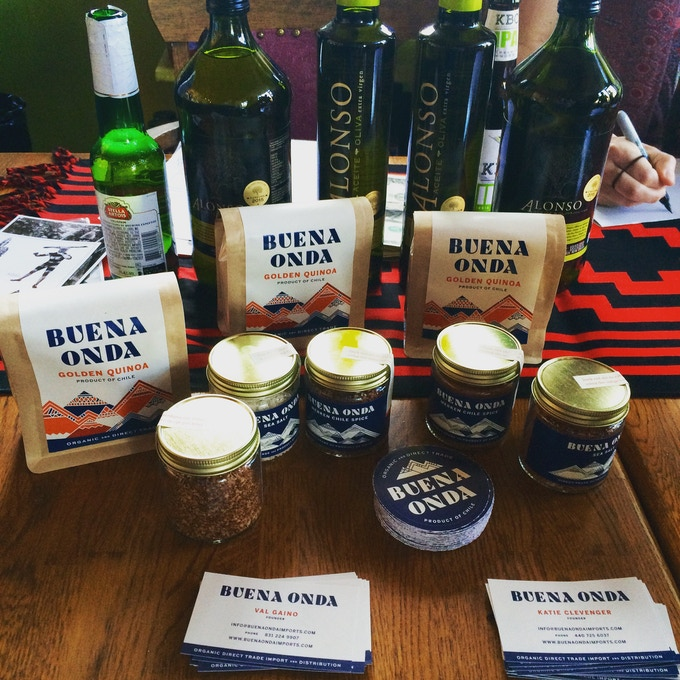 Buena Onda organic, golden quinoa and quinoa flour, merquen chile spice, hand harvested sea salt, and Alonso high quality olive oil