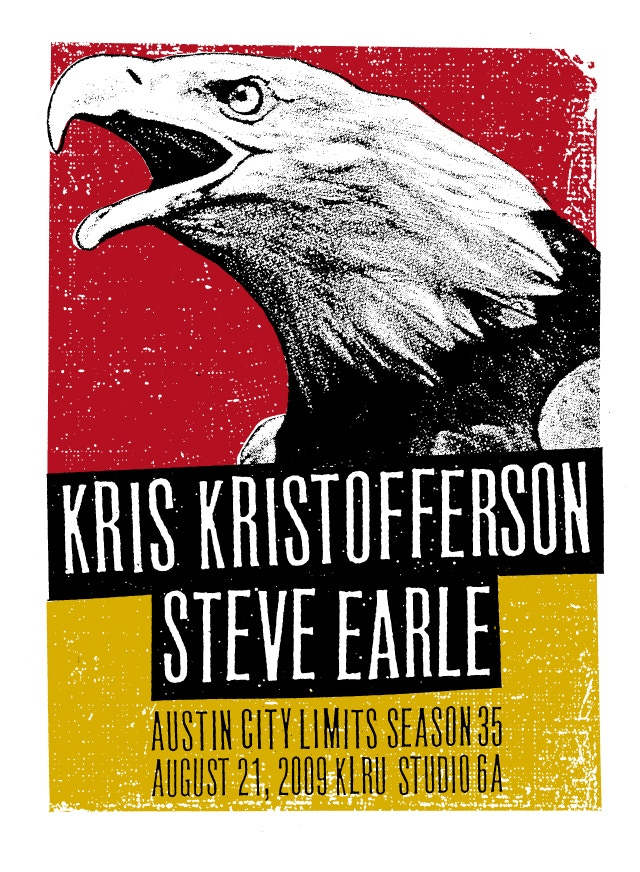 """SUNDAY MORNING COMING DOWN"" - Signed poster by Kris Kristofferson and Steve Earle"