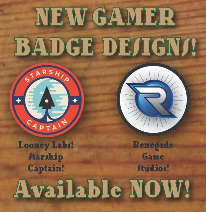 Looney Labs and Renegade Game Studios badges available!