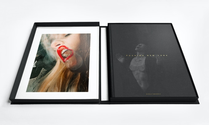 """The Collector's Edition"" unboxed. Left: signed 8""x10"" pigment print. Right: ""The Collector's Edition"" book with alternate cover featuring Stoya"