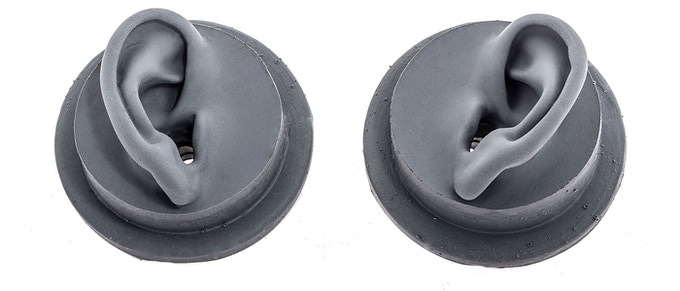 Pair of silicone ears used to record binaural audio.