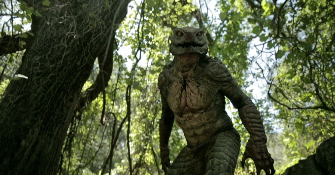 The creature suit on location.