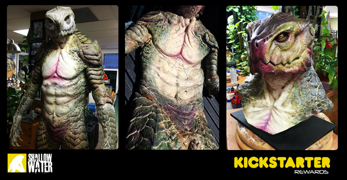 Screen used creature suits and stunt masks.