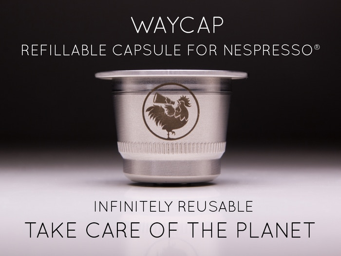 Meet WayCap. The new coffee capsule compatible with Nespresso® machines, in stainless steel, infinitely reusable and eco-friendly.