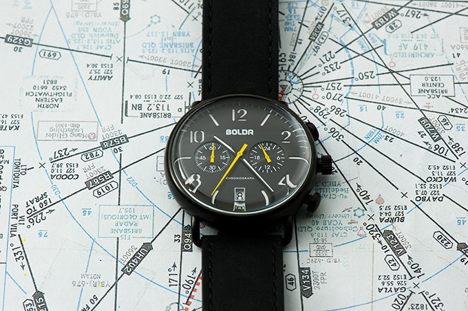 BOLDR Journey Chronograph Wasp: Black Lightning Yellow dial with Midnight black strap
