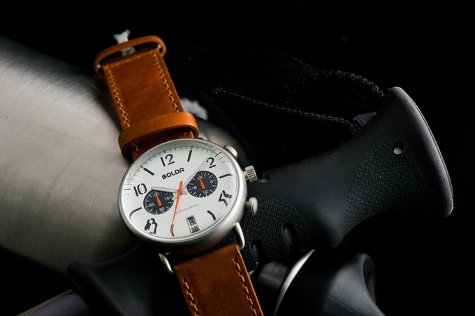 BOLDR Journey Chronograph Sopwith: Silver Orange dial with Dark Bourbon strap