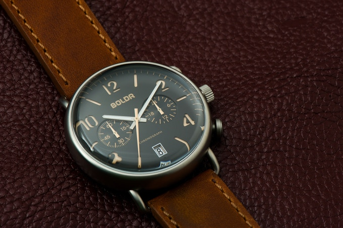 BOLDR Journey Chronograph Warhawks: Black Vintage Brown dial with Dark Bourbon strap