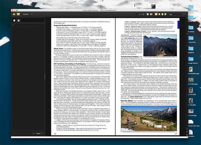 """Reading """"Exploring the Boulder-White Clouds"""" on a desktop with Adobe Digital Editions."""
