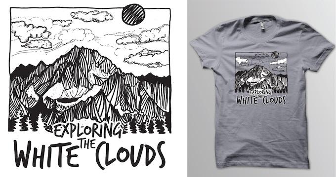 """Exploring the Boulder-White Clouds"" T-shirt design."