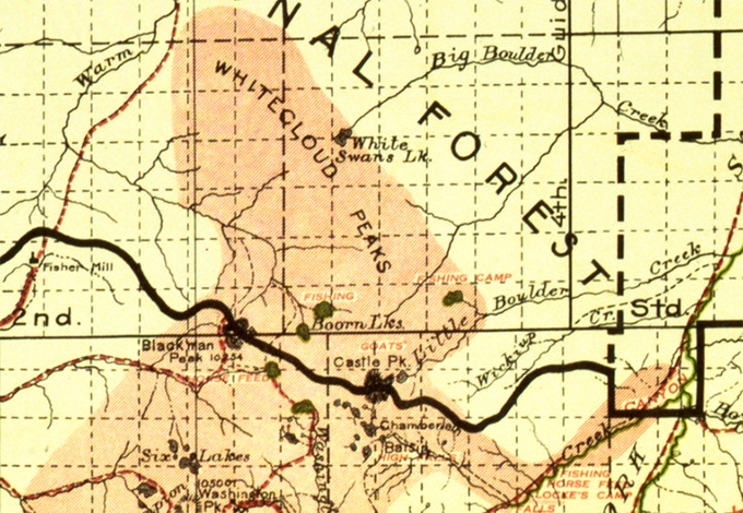 Detailed sample of the 1915 Sawtooth National Forest map.