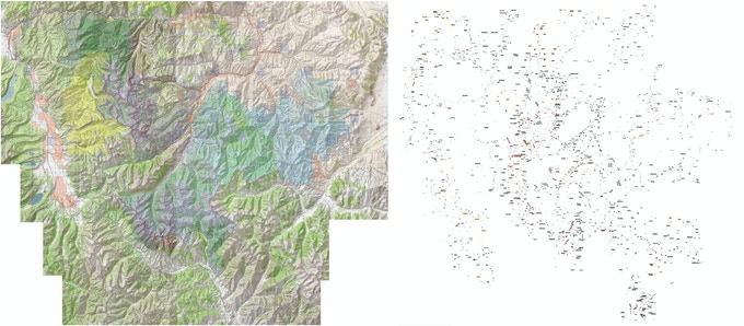 7.5-minute topo map (left) and icons (right) will be merged into an incredible wall map resource.