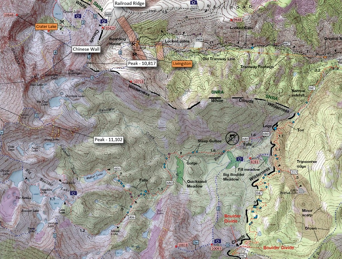 Detail of 7.5-minute BWC topo wall map.