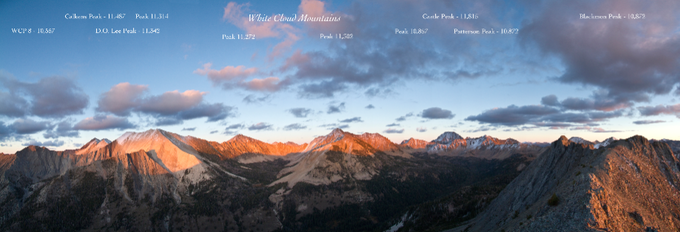 A stunning panoramic image of the high peaks of the White Clouds.