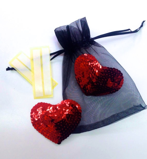 Handmade red heart pasties