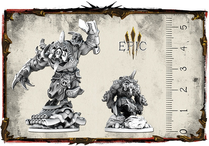 Size and look comparison between Wart and Wart Epic miniature.