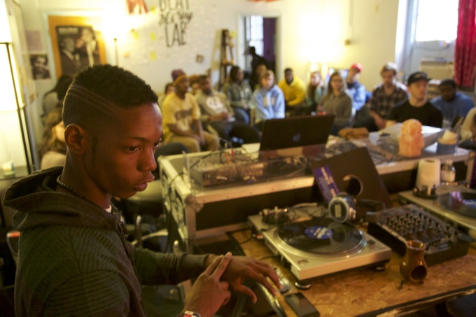 """Panamanian rapper/dancer Jario Esquina at Blackspace Chapel Hill during """"Cristo Negro"""" residency (March 2015)"""