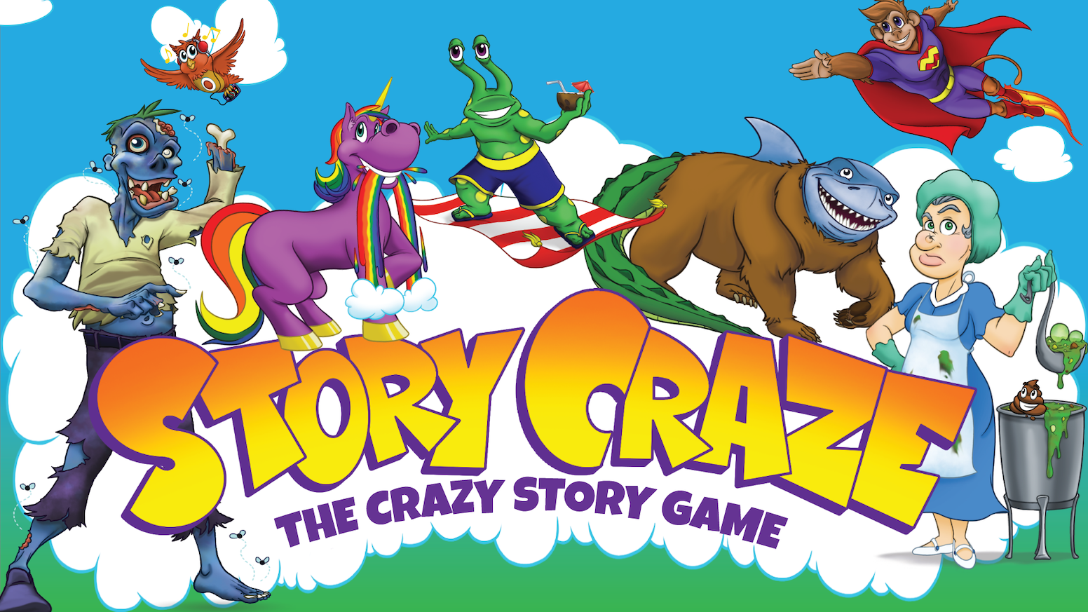 The hot, new hilarious and educational creative writing and storytelling game. Kids 6+.Use random PEOPLE, PLACES, + THINGS cards as cues to ignite outside-the-box thinking to make up outrageously witty, laugh out loud3-chapter stories. storycraze.com