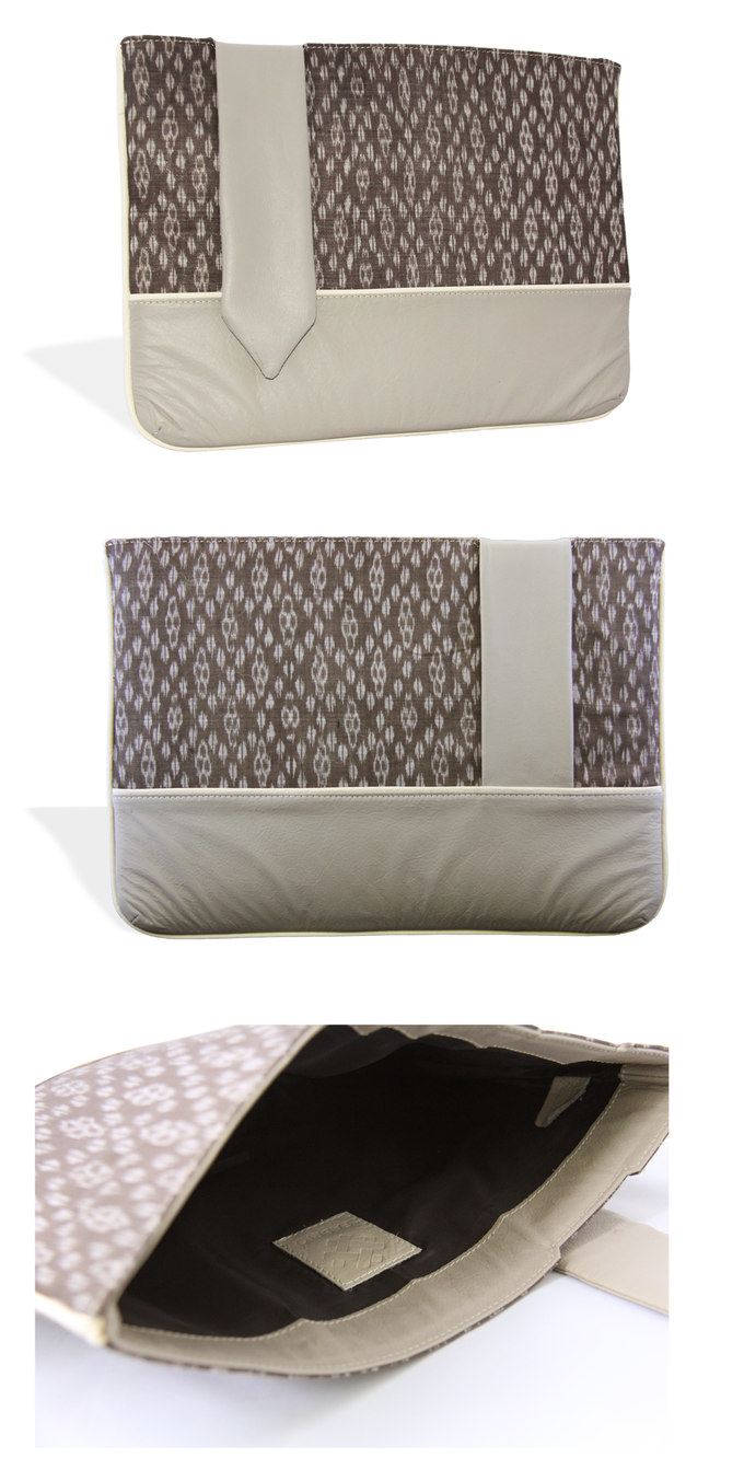The Shakti Laptop Sleeve in Taupe ikat with slate grey leather trim and cream piping