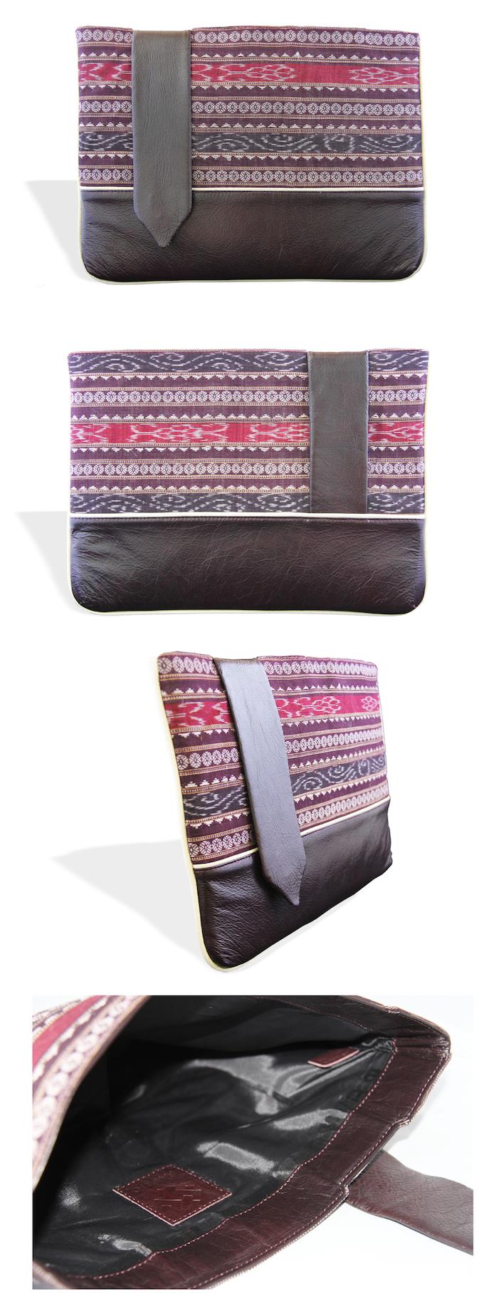 The Shakti Laptop Sleeve in Burgundy ikat with burgundy leather trim