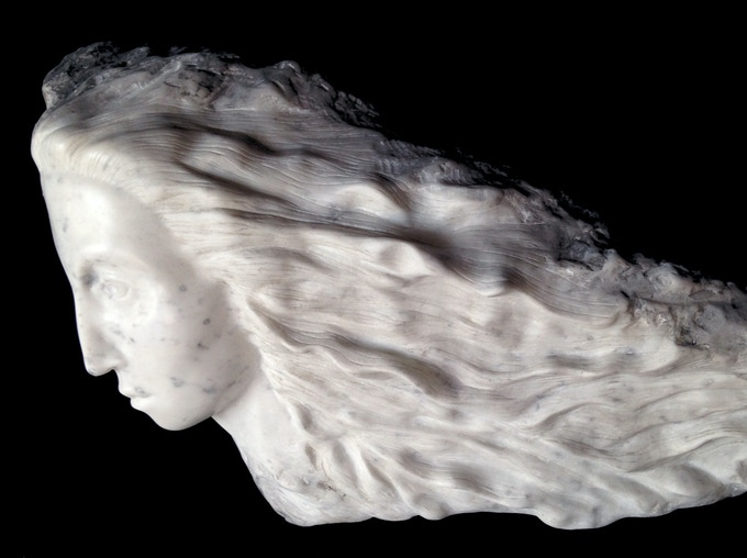 Passage of Time - hand carved carrara marble and chinese ink, H 10.75 x W 26 x D 8 inches