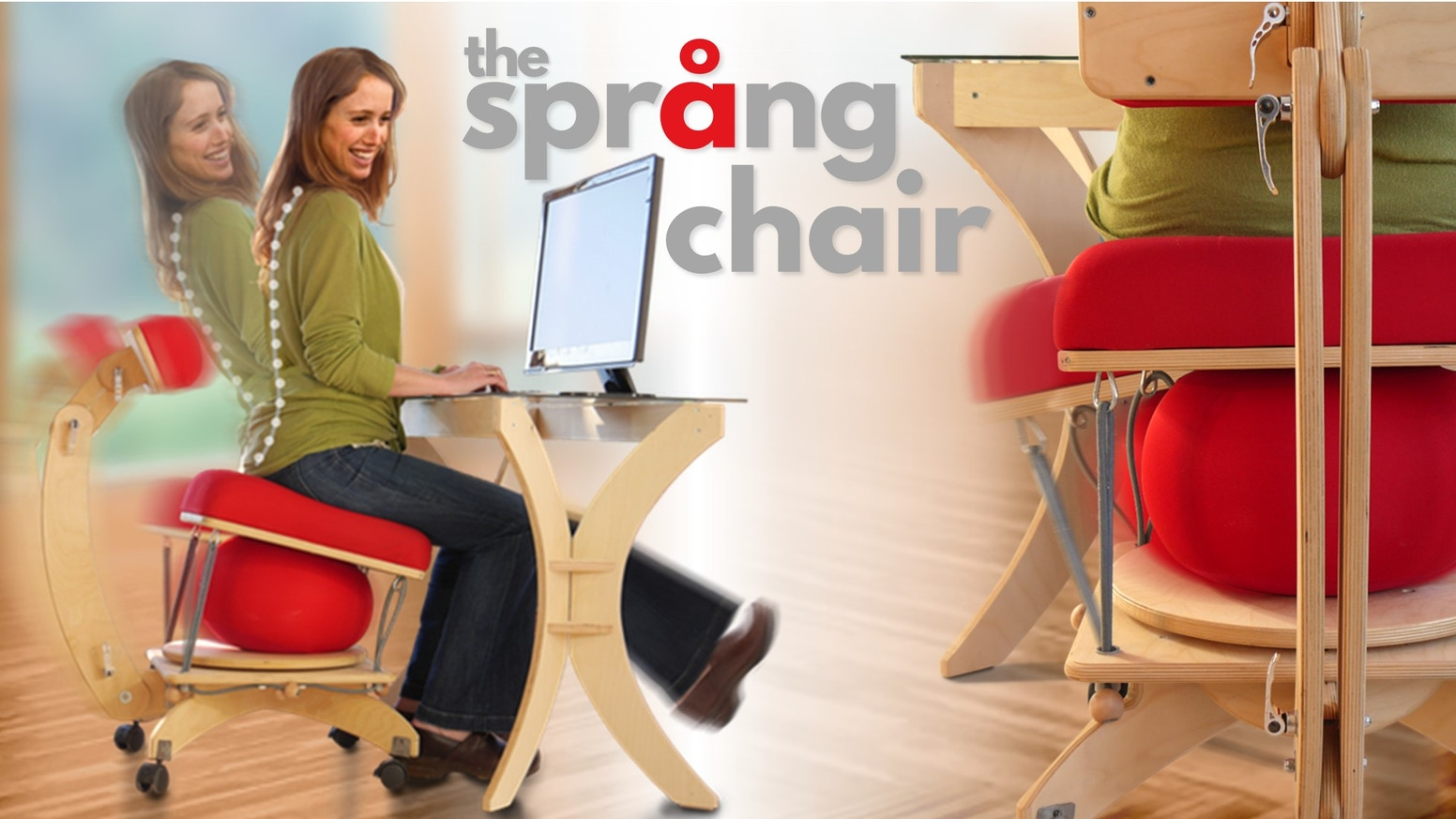 Språng combines the movement of an exercise ball, the comfort of an ergonomic chair, and the therapeutic benefits of resistance bands.