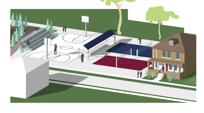 Rendering: Activity Courts outside of the Homework House