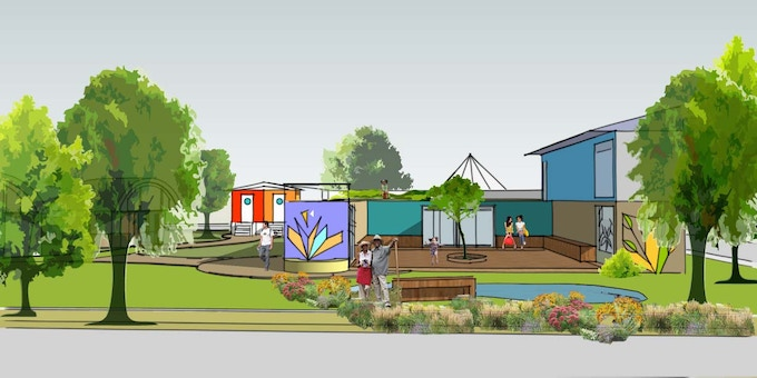 Rendering: Shipping container installations at Goddess Marketplace