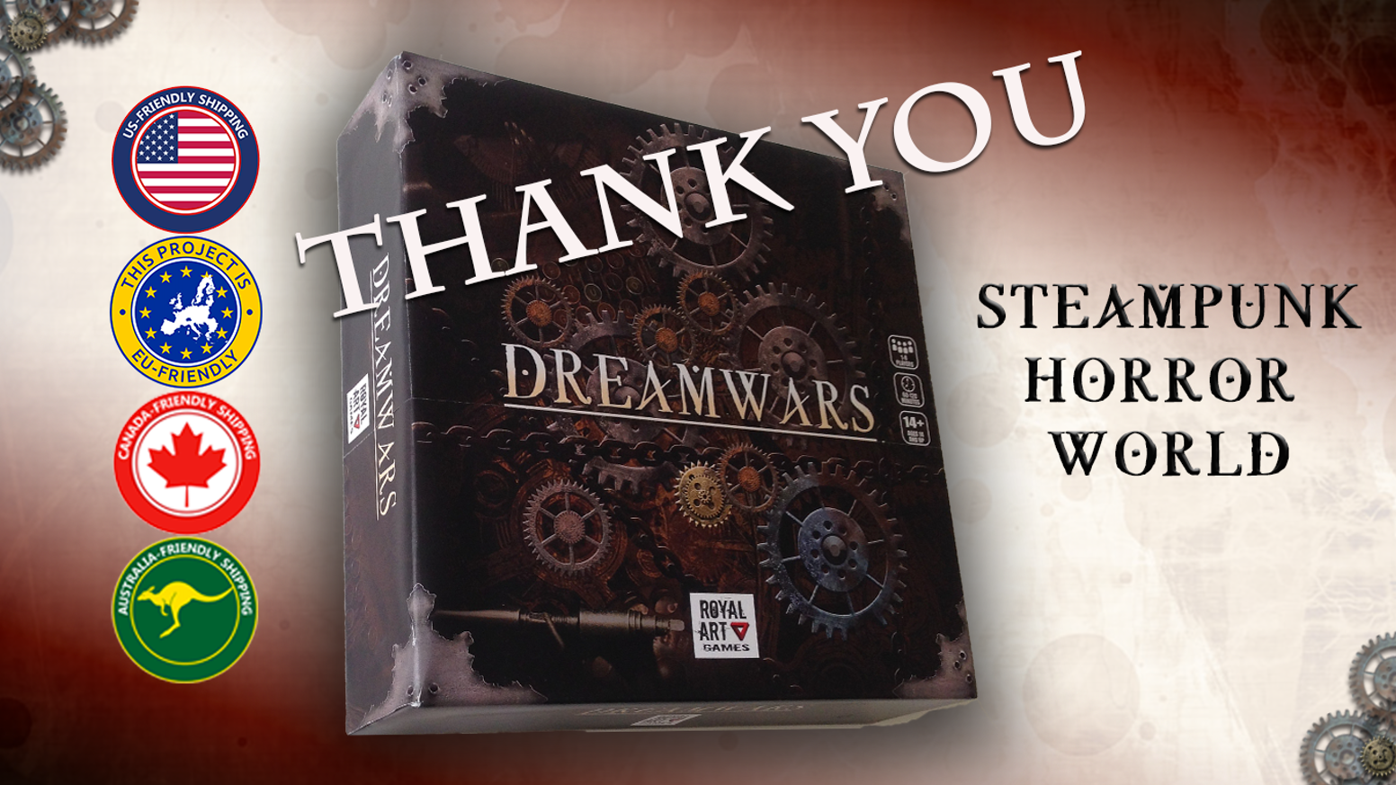 Dreamwars is a 1-to-8 players cooperative board game set in an original steampunk horror world.Now you can still join till October using the link below.