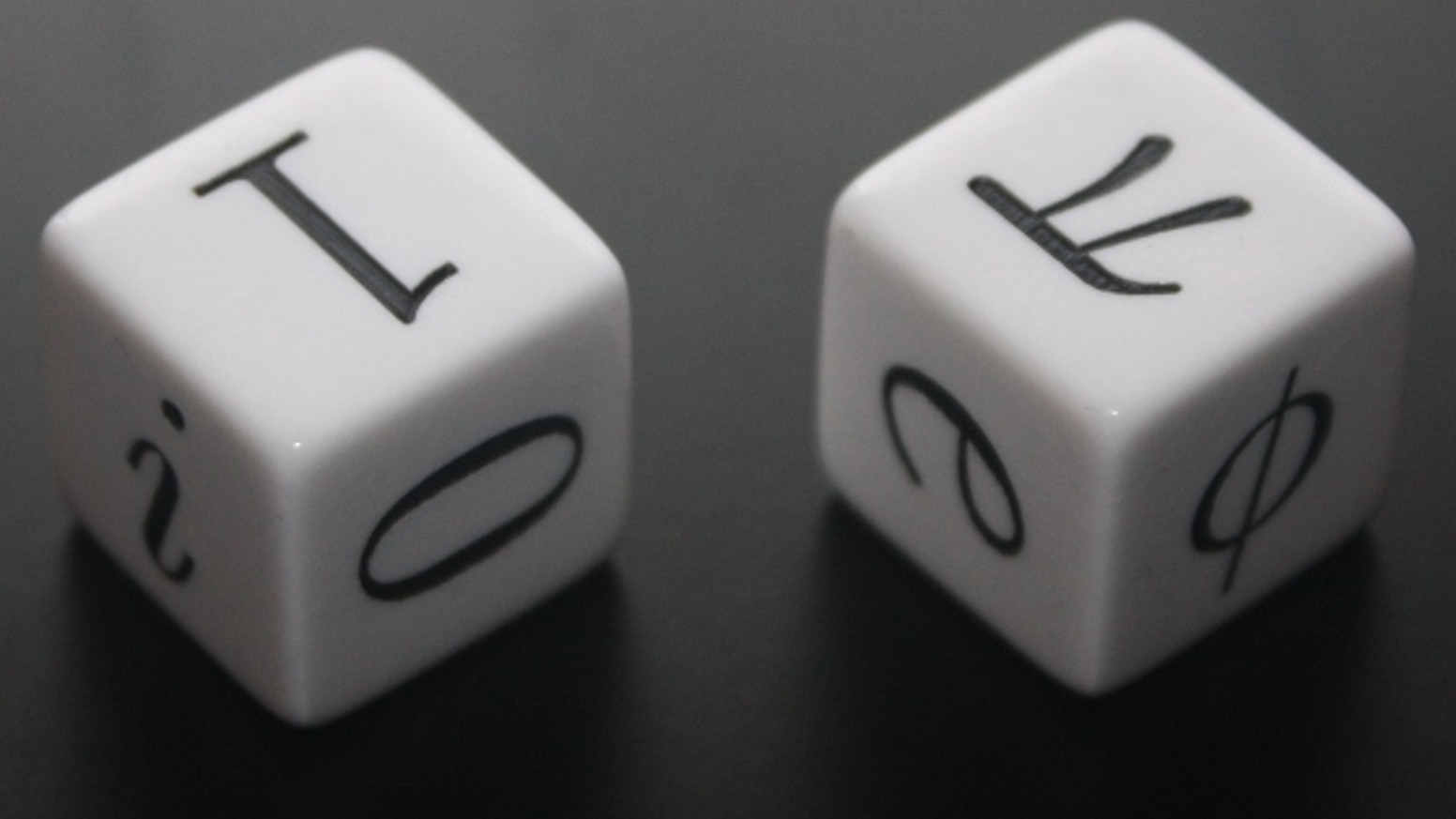 Rather than the boring numbers 1 to 6, these dice have the six most important numbers in mathematics on them — i, 0, 1, φ, e and π!