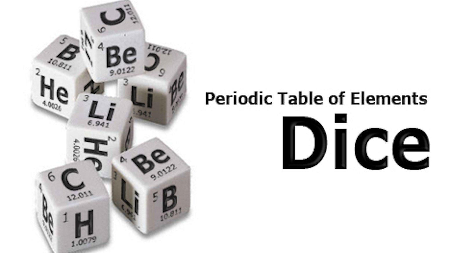 Periodictable of elements dice by andrew inaba kickstarter a fun alternative to normal dice the periodic table of elements dice encorporate the elements 1 6 h he li be b c gamestrikefo Images