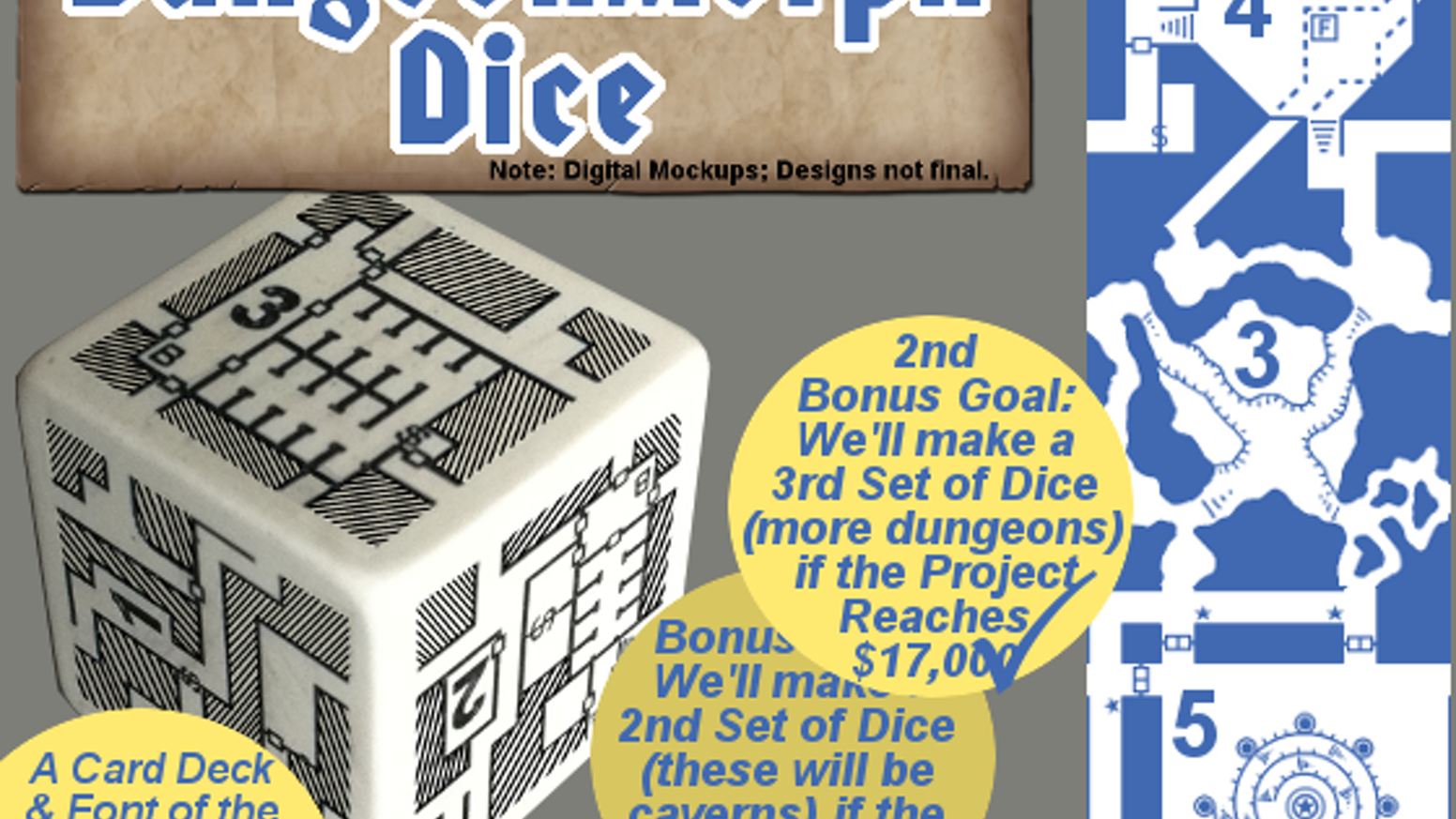 DungeonMorph Dice allow GM's to create dungeons by joining the sides of the rolled dice; inspire dungeon design; and they look cool!