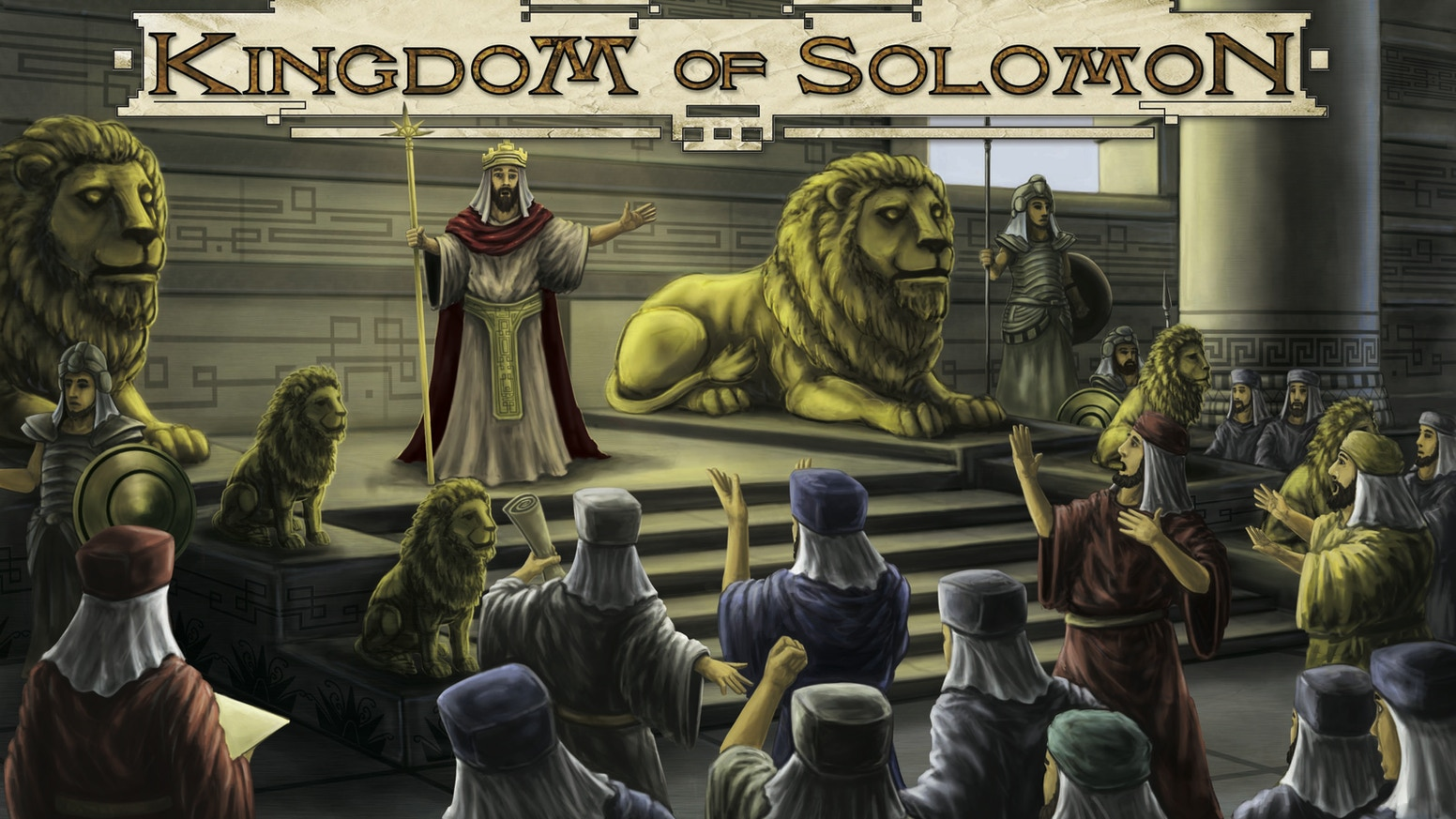 A worker placement game based in the time of King Solomon. Collect resources, build buildings, place roads, find your fortune!