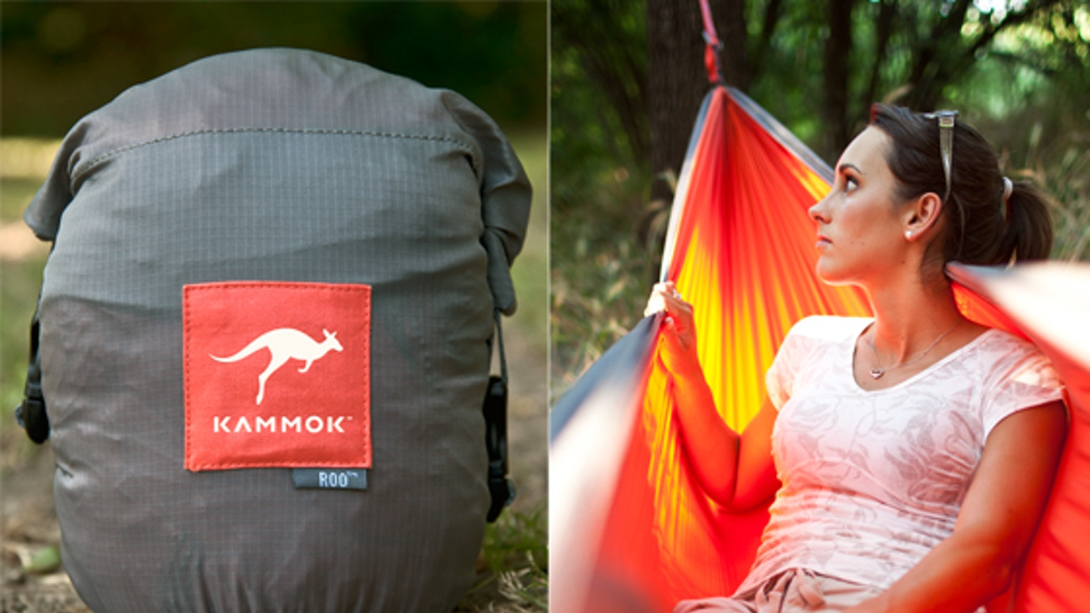 "The KAMMOK™ is a new, light-weight camping hammock (or as the cool kids say ""kammok""), designed to comfortably sleep one person."