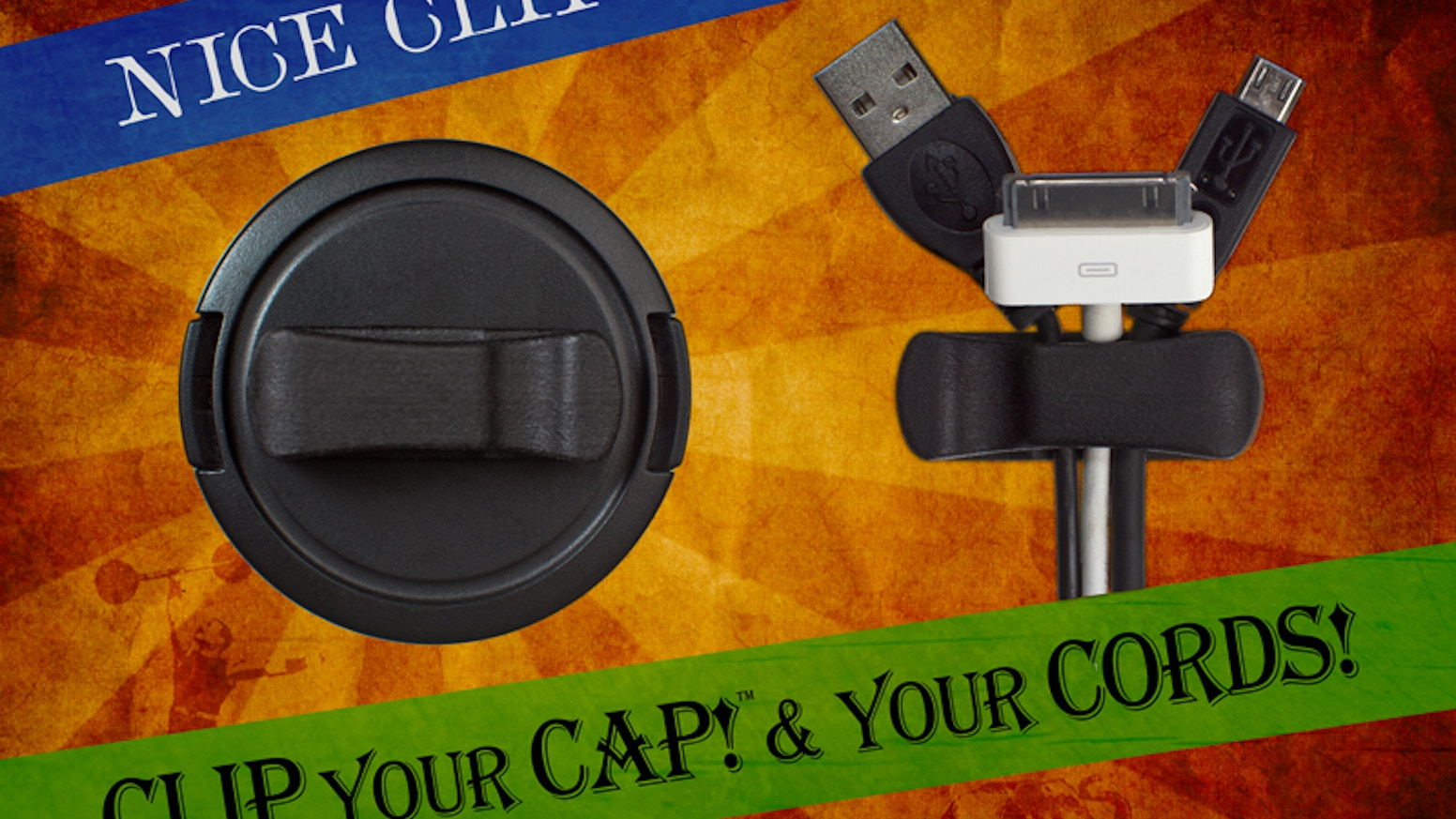 Clip your lens cap anywhere with our low profile clip. Or stick the clip to your desk & use it as the worlds smallest cord catcher!