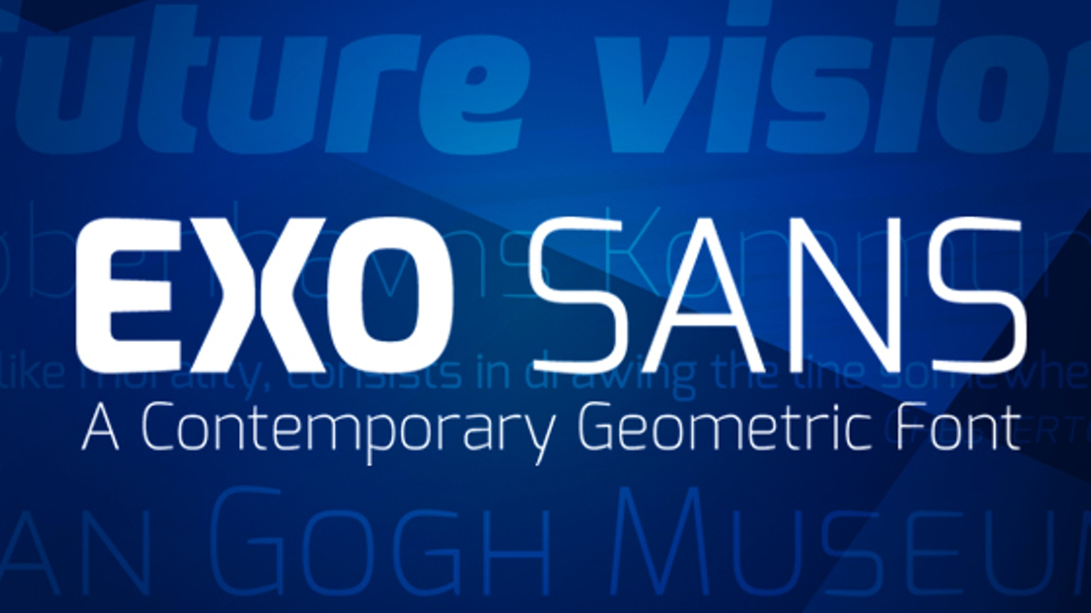 Exo is a geometric sans font family with 9 weights and full OpenType features. I want to make it available to all designers.