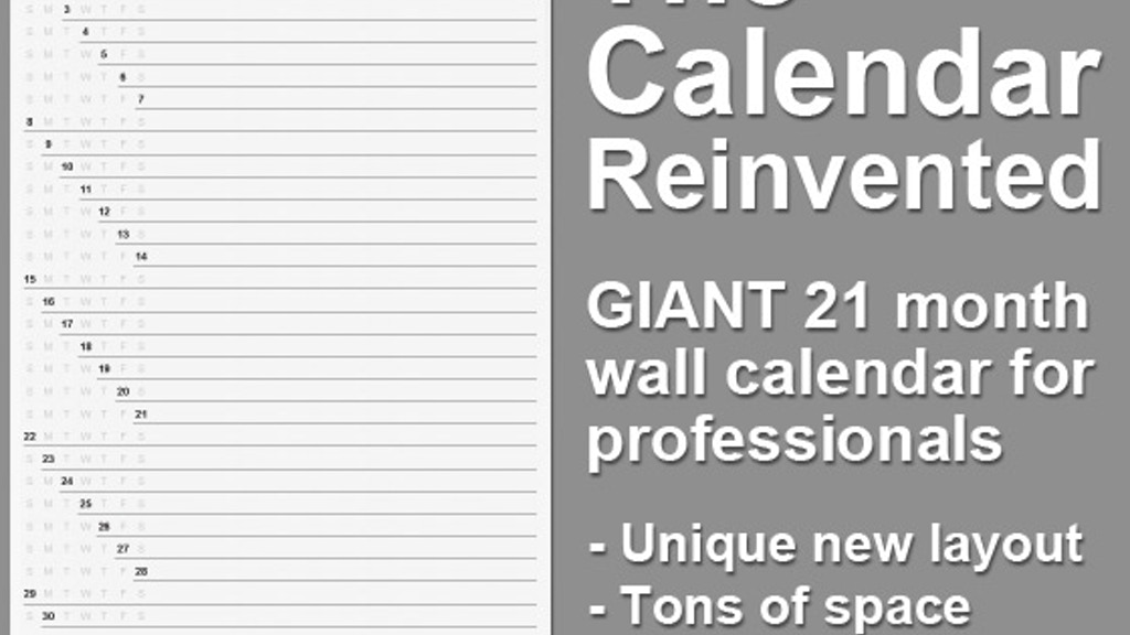 Project image for The Calendar Reinvented: A Giant, 21 Month Wall Calendar