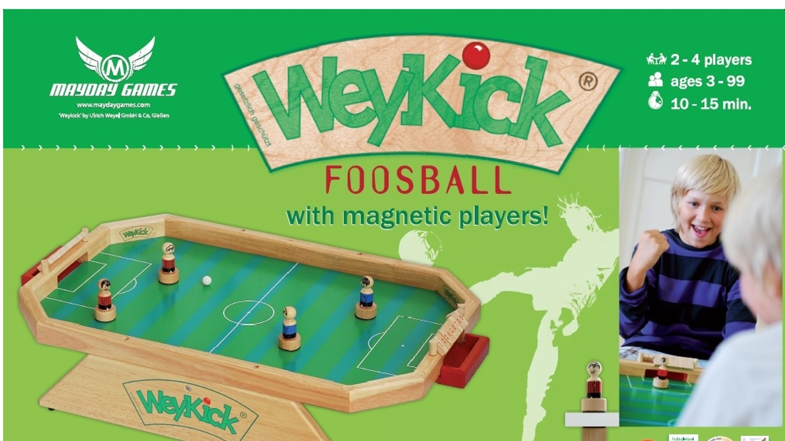 WeyKick is a fast-paced dexterity game that is very easy to play but hard to master.  We are trying to make it available for the USA!