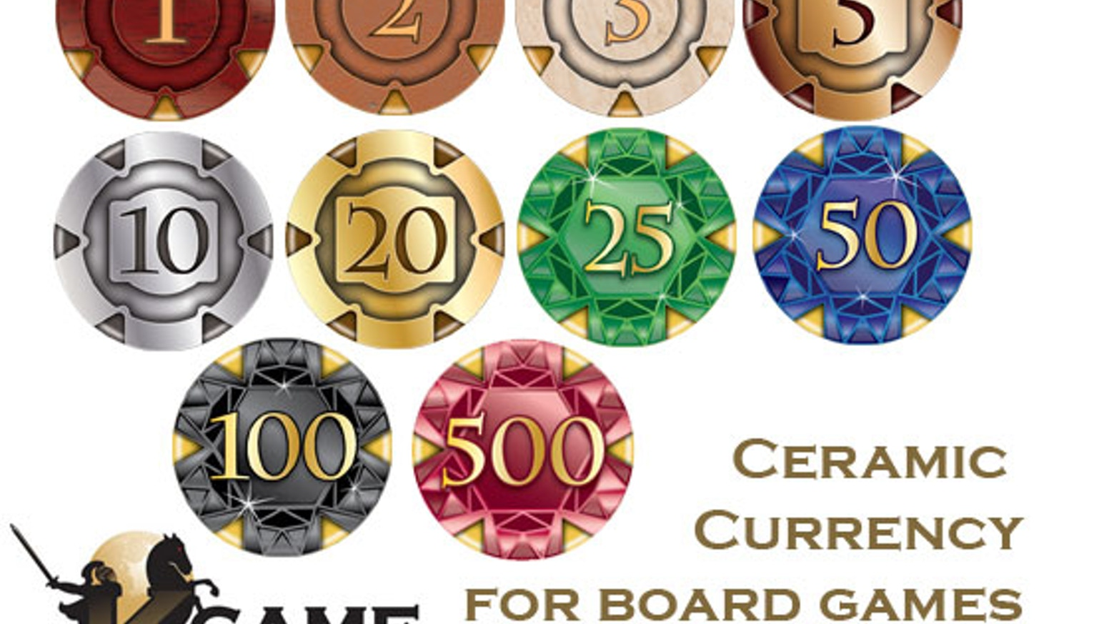 GameChips: Custom ceramic poker chips designed specifically for board gamers to replace the poor quality currency often found in games.