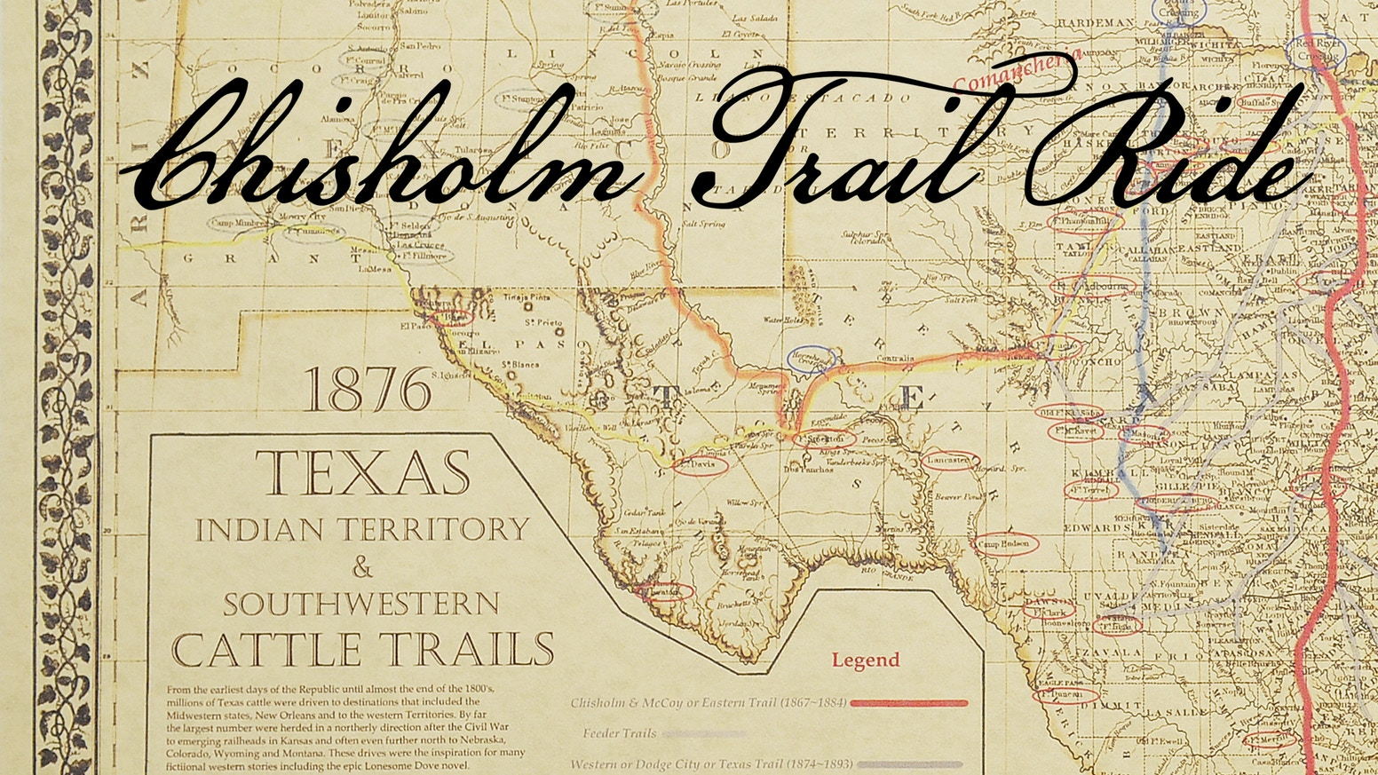 Chisholm Trail Ride by Chad Nicholson & Tyler Sharp ... on mormon trail map, henderson trail map, great western cattle trail, black hills map, kitty hawk map, big falls trail map, frontier trail map, salton sea map, santa fe trail, durham trail map, shawnee trail map, red river, chisum trail map, duluth trail map, goodnight-loving cattle trail map, cherry trail map, abilene cattle trail map, colorado map, great plains map, western trail map, bozeman trail, texas road, chism trail map, sedalia trail map, farmington trail map,