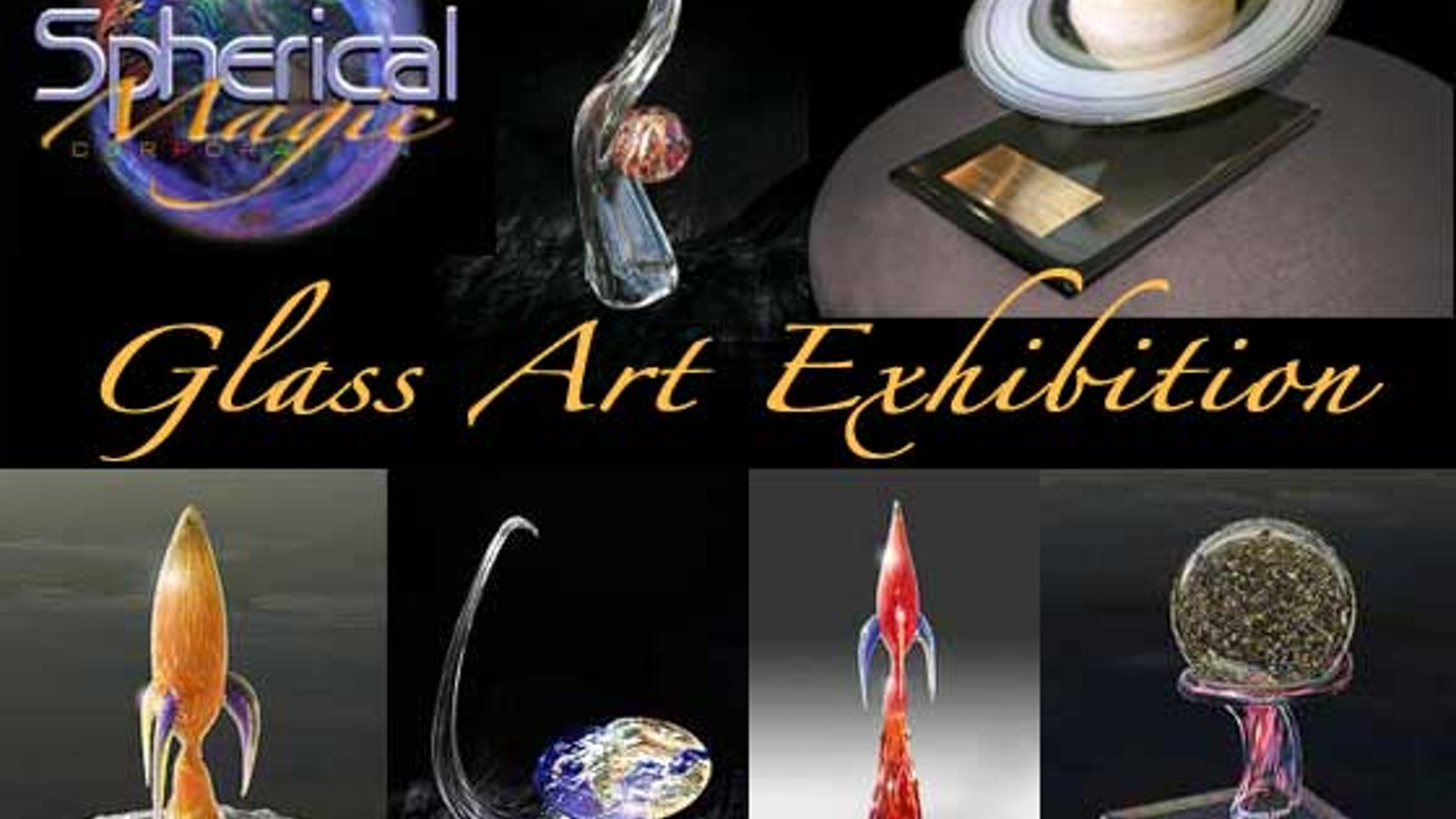 An exhibition of blown and carved glass art and paintings showcasing the beauty of space.